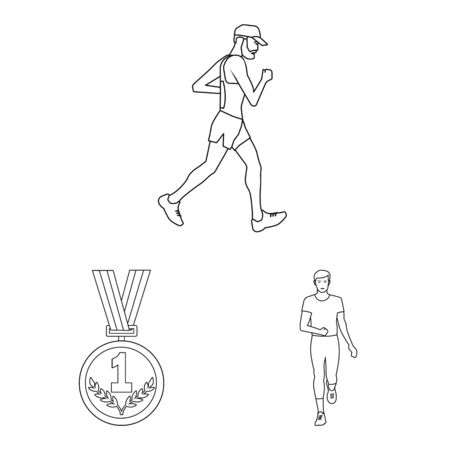 Isolated object of exercise and sprinter logo. Collection of exercise and marathon vector icon for stock.