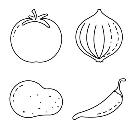 Vector illustration of healthy and ripe symbol. Collection of healthy and harvest stock vector illustration.