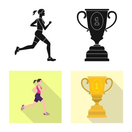 Vector design of sport and winner logo. Set of sport and fitness stock vector illustration.  イラスト・ベクター素材