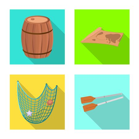 Isolated object of journey and seafaring icon. Set of journey and vintage vector icon for stock. Vettoriali