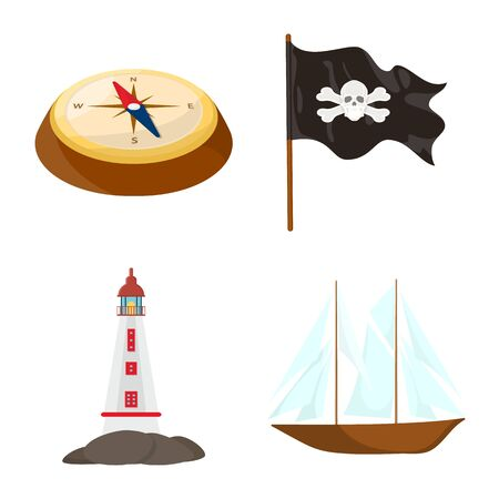 Vector design of marine and adventure symbol. Set of marine and ocean stock symbol for web. Vettoriali