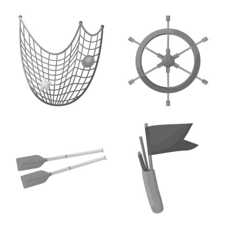 Vector design of nautical and voyage icon. Set of nautical and seafaring stock symbol for web.