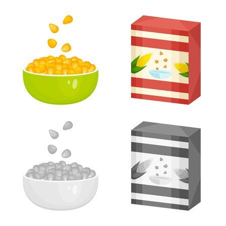 Isolated object of cornfield and vegetable sign. Set of cornfield and vegetarian stock vector illustration. Illusztráció