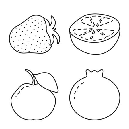 Isolated object of healthy and ripe logo. Set of healthy and harvest stock symbol for web.