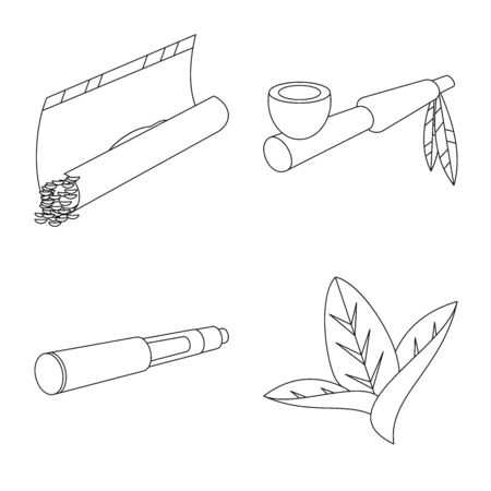 Vector illustration of equipment and smoking sign. Set of equipment and smoker stock vector illustration. Ilustrace