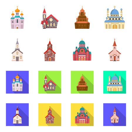 Isolated object of cult and temple icon. Collection of cult and parish vector icon for stock. Illustration