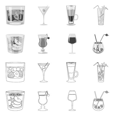 Vector illustration of liquor and restaurant sign. Collection of liquor and ingredient stock vector illustration.