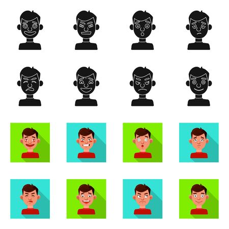 Isolated object of face and boy icon. Set of face and human stock symbol for web.