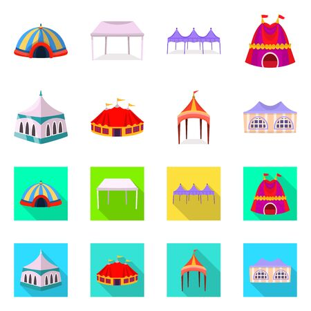 Isolated object of roof and folding symbol. Set of roof and architecture vector icon for stock. Ilustracja