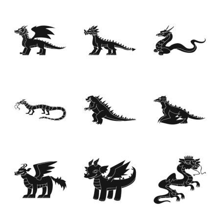 Isolated object of dinosaur and history icon. Set of dinosaur and animal stock vector illustration.