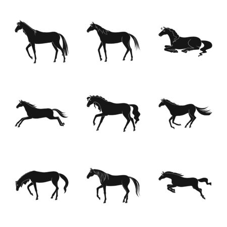 Vector design of fauna and mare sign. Set of fauna and stallion vector icon for stock.