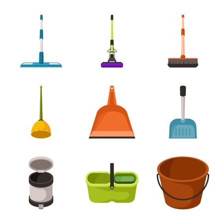Vector design of equipment and housework sign. Collection of equipment and clean stock symbol for web. Иллюстрация