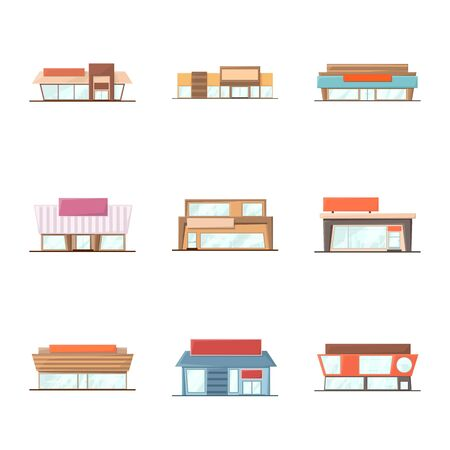 Vector design of building and supermarket icon. Collection of building and market vector icon for stock.