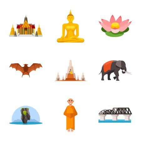 Vector illustration of thailand and travel icon. Set of thailand and culture vector icon for stock. Illustration