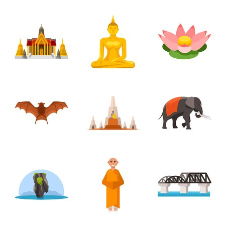 Vector illustration of thailand and travel icon. Set of thailand and culture vector icon for stock. Ilustrace