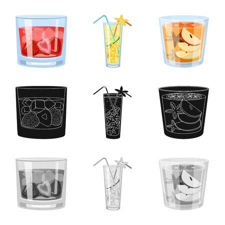 Objeto aislado de licor y signo de restaurante. Colección de símbolo de stock de licor e ingredientes para web.