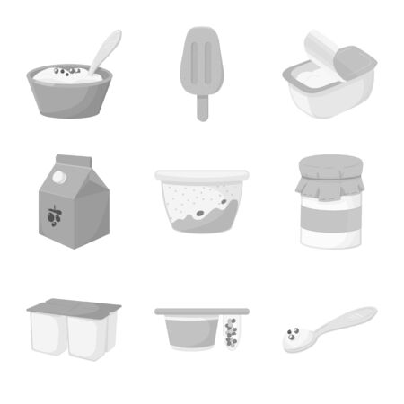 Vector design of yogurt and product icon. Set of yogurt and lactose stock vector illustration.