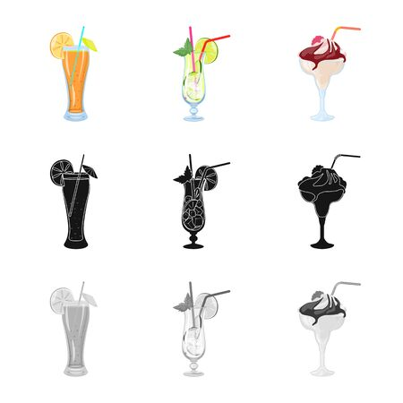 Vector illustration of liquor and restaurant symbol. Set of liquor and ingredient vector icon for stock.