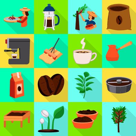 Isolated object of process and farming icon. Collection of process and technology vector icon for stock. Vettoriali