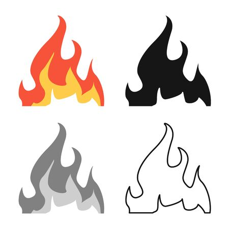 Isolated object of flame and bonfire icon. Collection of flame and warm stock vector illustration. Illustration