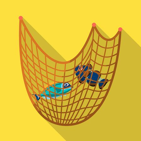 Isolated object of fishnet and fishing symbol. Set of fishnet and fish vector icon for stock.