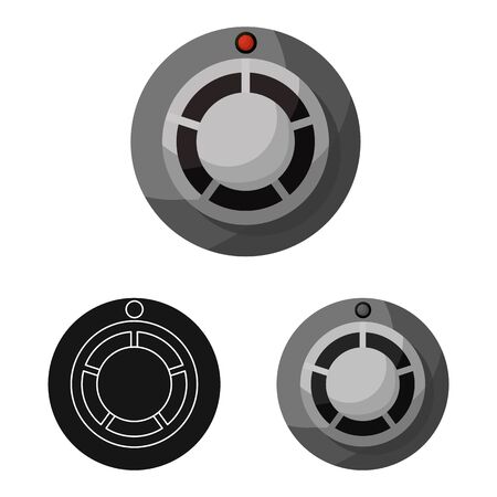Isolated object of detector and smoke symbol. Set of detector and sensor vector icon for stock.
