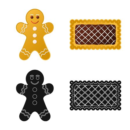 Vector illustration of biscuit and bake sign. Collection of biscuit and chocolate vector icon for stock.