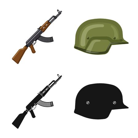 Vector design of weapon and gun sign. Collection of weapon and army stock symbol for web.