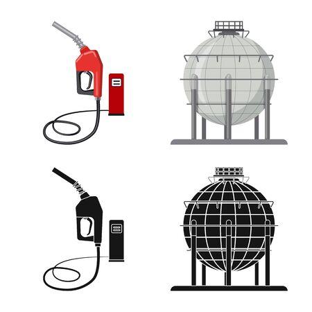 Vektorillustration des Öl- und Gassymbols. Sammlung von Öl- und Benzinvorratsymbol für Web. Vektorgrafik