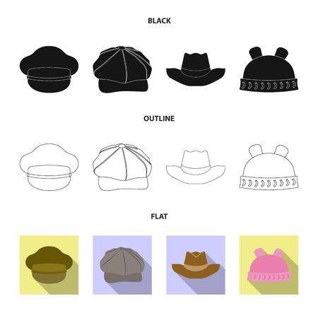 Vector design of headgear and cap sign. Collection of headgear and accessory stock symbol for web.