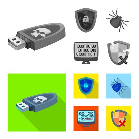 Vector illustration of virus and secure icon. Set of virus and cyber stock vector illustration.