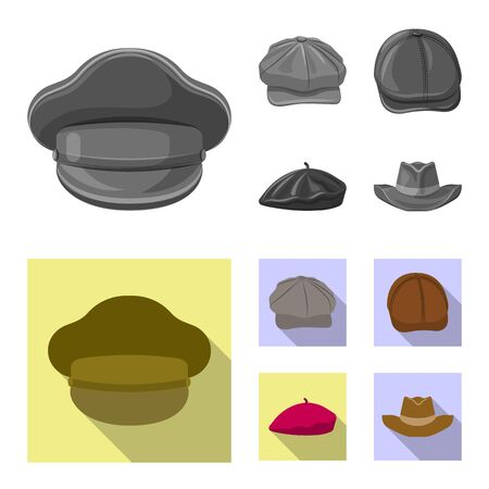 Vector design of headgear and cap icon. Set of headgear and accessory vector icon for stock.