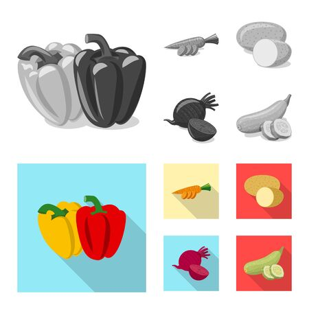Vector design of vegetable and fruit logo. Set of vegetable and vegetarian stock vector illustration.