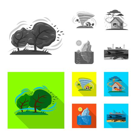Isolated object of natural and disaster symbol. Set of natural and risk vector icon for stock.