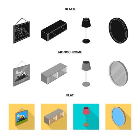 Isolated object of bedroom and room icon. Set of bedroom and furniture vector icon for stock. Ilustração