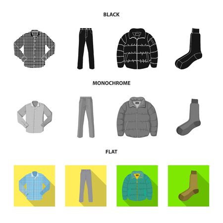 Isolated object of man and clothing sign. Collection of man and wear vector icon for stock.