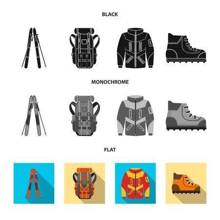Vector design of mountaineering and peak icon. Collection of mountaineering and camp stock vector illustration.
