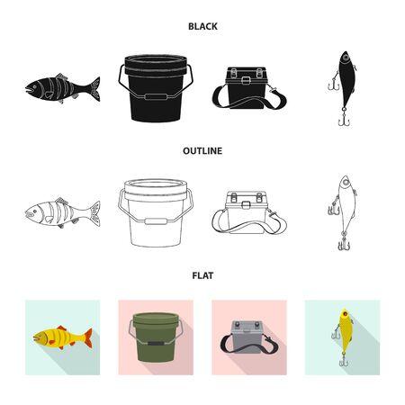 Isoliertes Objekt von Fisch und Fischereisymbol. Sammlung von Fisch- und Ausrüstungsvektorsymbolen für Lager. Vektorgrafik