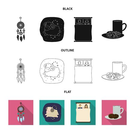Vector illustration of dreams and night symbol. Set of dreams and bedroom stock vector illustration. Illustration