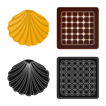 Isolated object of biscuit and bake symbol. Collection of biscuit and chocolate vector icon for stock. Ilustração