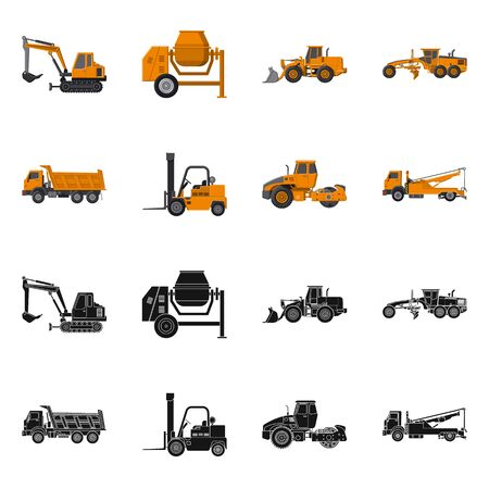 Vector illustration of build and construction symbol. Set of build and machinery stock symbol for web.