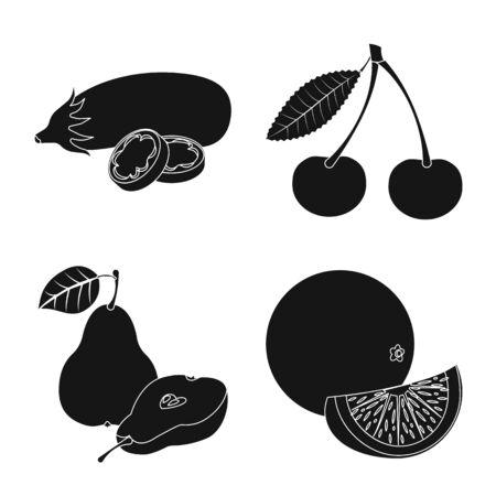 Vector illustration of vegetable and fruit icon. Collection of vegetable and vegetarian stock vector illustration.