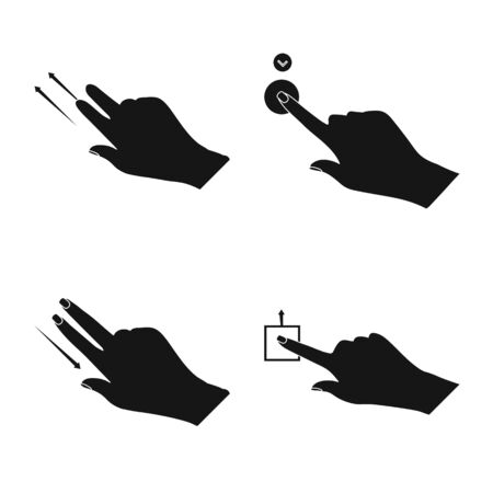Vector illustration of touchscreen and hand sign. Collection of touchscreen and touch stock symbol for web.