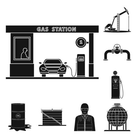 Isolated object of oil and gas logo. Collection of oil and petrol vector icon for stock.