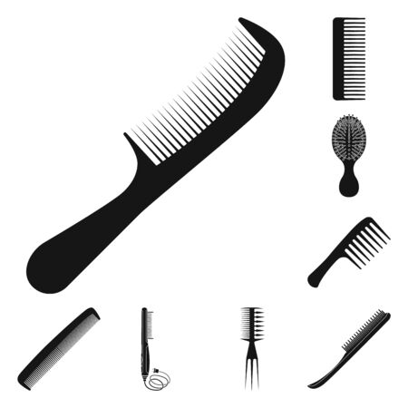 Isolated object of brush and hair symbol. Collection of brush and hairbrush stock symbol for web.