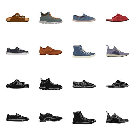 Vector illustration of shoe and footwear sign. Collection of shoe and foot vector icon for stock.