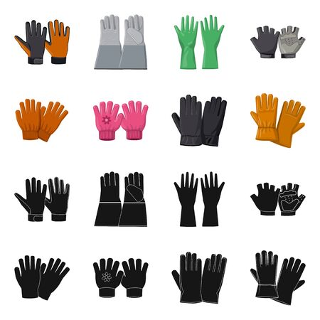 Vector illustration of glove and winter icon. Collection of glove and equipment stock symbol for web.