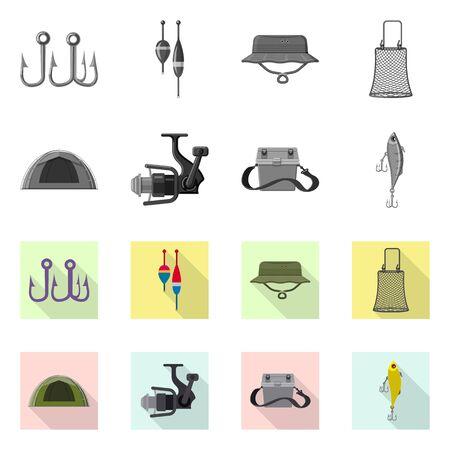 Vector illustration of fish and fishing sign. Set of fish and equipment stock vector illustration. Illustration