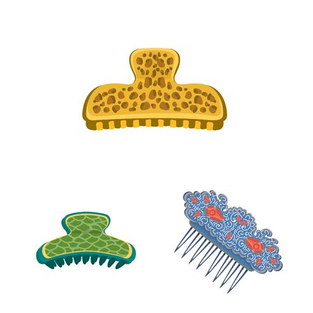 Isolated object of barrette and hair sign. Collection of barrette and accessories stock symbol for web.