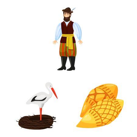 Vector illustration of poland and travel logo. Set of poland and europe stock vector illustration. Çizim